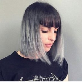 bob with black into gray ombre